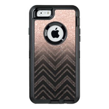 Chic Faux Rose Gold Glitter Ombre Modern Chevron Otterbox Defender Iphone Case by girly_trend at Zazzle