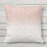 Chic faux rose gold glitter ombre modern chevron outdoor pillow