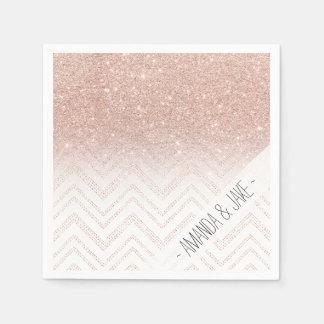 Chic faux rose gold glitter ombre modern chevron paper napkin