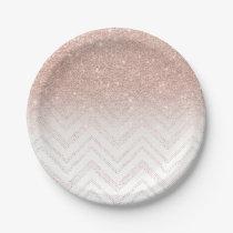 Chic faux rose gold glitter ombre modern chevron paper plate