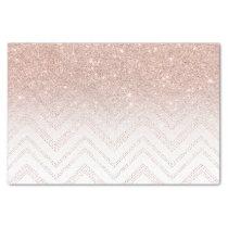 Chic faux rose gold glitter ombre modern chevron tissue paper