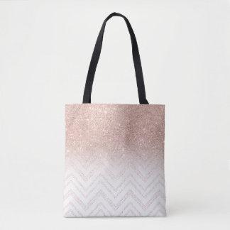 Chic faux rose gold glitter ombre modern chevron tote bag