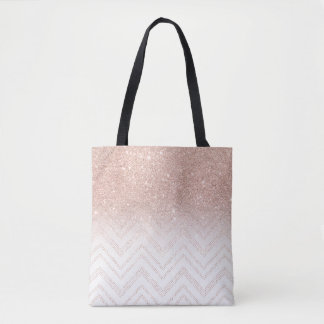 Chic faux rose gold glitter ombre modern chevron tote bag
