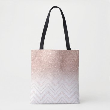 girly_trend Chic faux rose gold glitter ombre modern chevron tote bag