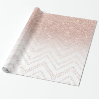 Chic faux rose gold glitter ombre modern chevron wrapping paper