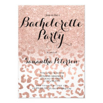 Chic faux rose gold leopard bachelorette party invitation