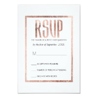Chic Faux Rose Gold RSVP Cards