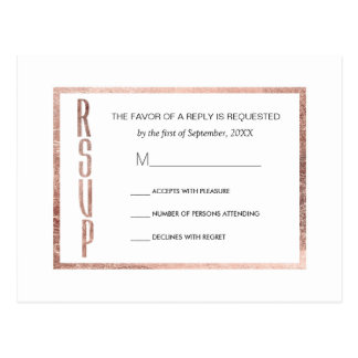 Chic Faux Rose Gold RSVP Postcards