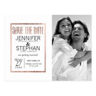 Chic Faux Rose Gold Save the Date Postcards