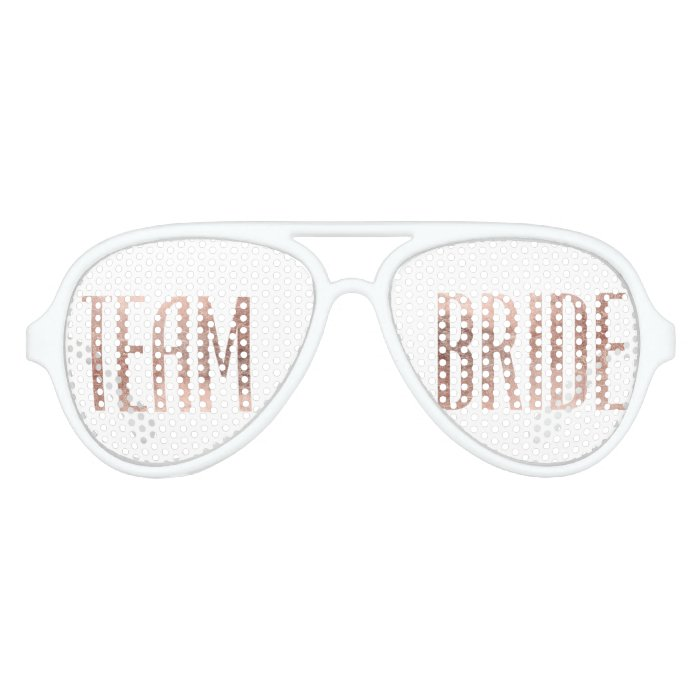 Chic Faux Rose Gold Team Bride Sunglasses Zazzle
