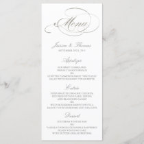 Chic Faux Silver Foil Wedding Menu Template