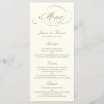 Chic Faux Silver Foil Wedding Menu Template- Ivory