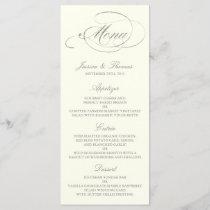 Chic Faux Silver Foil Wedding Menu Template- Ivory