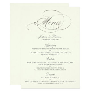 Chic Faux Silver Foil Wedding Menu Template- Ivory Card