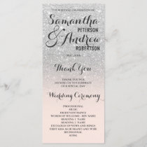 Chic faux silver glitter ombre Wedding Program