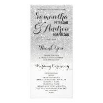 Chic faux silver glitter ombre Wedding Program 2