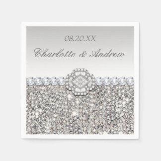 Chic Faux Silver Sequins Diamonds Wedding Paper Napkin