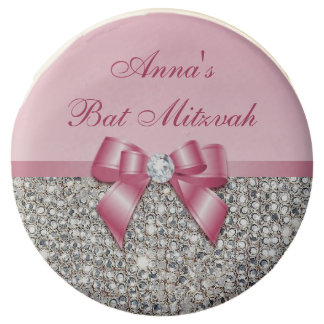 Chic Faux Silver Sequins Pink Bow Bat Mitzvah Chocolate Dipped Oreo