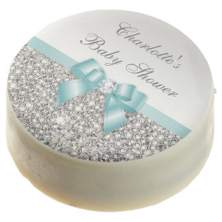 Chic Faux Silver Sequins Teal Bow Baby Shower Chocolate Covered Oreo