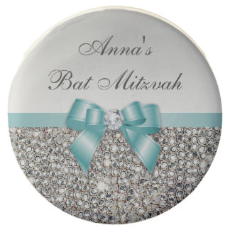 Chic Faux Silver Sequins Teal Bow Bat Mitzvah Chocolate Dipped Oreo