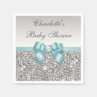 Chic Faux Teal Bow Silver Sequins Baby Shower Paper Napkin
