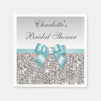 Chic Faux Teal Bow Silver Sequins Bridal Shower Napkin