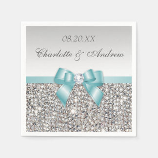 Chic Faux Teal Bow Silver Sequins Wedding Paper Napkin