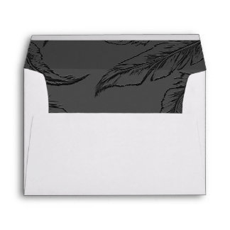 Chic Feathers Grey Wedding Envelope