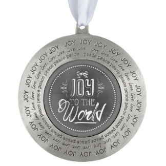 Chic Festive Chalkboard Joy To The World Round Pewter Ornament