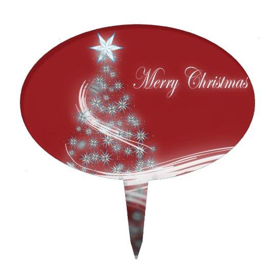 chic festive xmas evergreen Christmas Tree Cake Topper