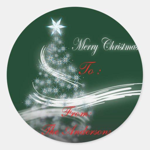 chic festive xmas evergreen Christmas Tree Classic Round Sticker