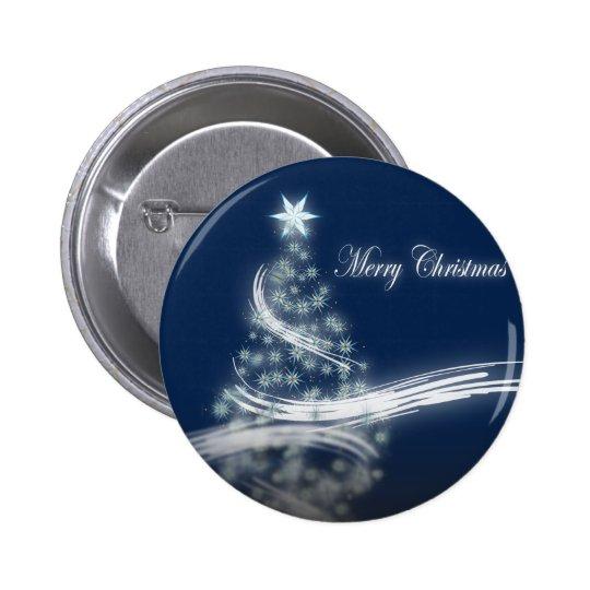 chic festive xmas evergreen Christmas Tree Pinback Button