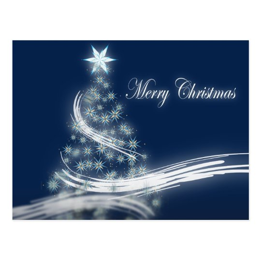 chic festive xmas evergreen Christmas Tree Postcard