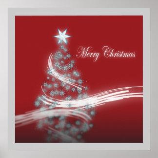 chic festive xmas evergreen Christmas Tree Poster