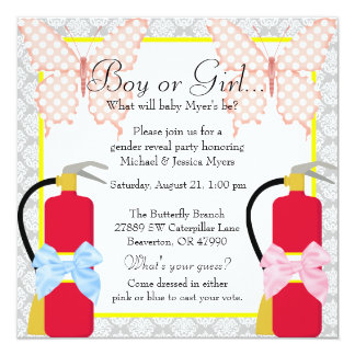 Chic Fire Fighter & Butterfly Damask Gender Reveal Card