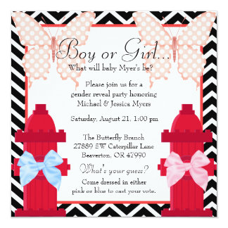 Chic Fire Hydrant & Butterfly Damask Gender Reveal Card