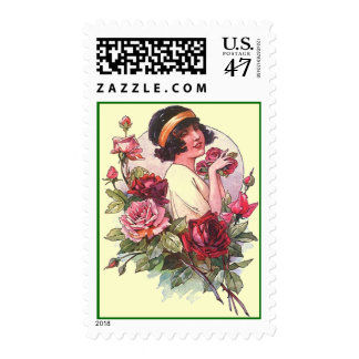 Chic Flapper In Roses Stylish All Occasion STAMPS