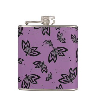 CHIC FLASK_BUTTERFLIES ON RADIANT ORCHID HIP FLASKS