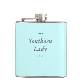 "CHIC FLASK_""Southern Lady"" GRAY ON AQUA Flask"