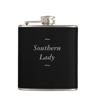 "CHIC FLASK_""Southern Lady"" GRAY ON BLACK Hip Flask"