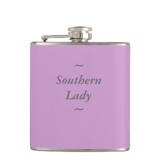 """CHIC FLASK_""""Southern Lady"""" GRAY ON ORCHID Hip Flask"""