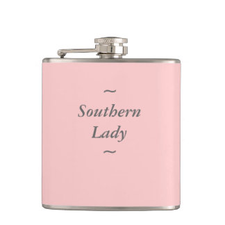 """CHIC FLASK_""""Southern Lady"""" GRAY ON PINK Hip Flask"""