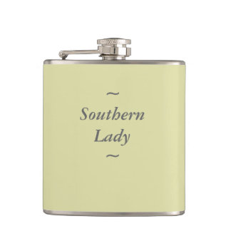 """CHIC FLASK_""""Southern Lady"""" GRAY ON SOFT YELLOW Hip Flask"""