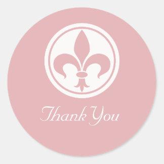 Chic Fleur De Lis Thank You Stickers, Pink Classic Round Sticker