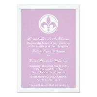 Chic Fleur De Lis Wedding Invite, Lilac Invitation