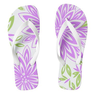 Beach Themed CHIC FLIP FLOPS_201 LILAC/GREEN/WHITE FLORAL FLIP FLOPS