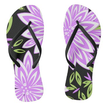 Beach Themed CHIC FLIP FLOPS_LILAC/GREEN/WHITE FLORAL FLIP FLOPS