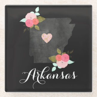 Chic Floral Arkansas State Moveable Heart City Glass Coaster