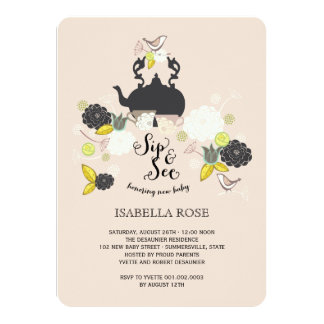 Chic Floral Blooms Birds Sip And See Baby Shower Card