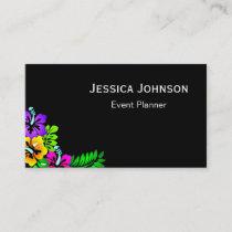 Chic Floral Border Monogram Black & White Business Card